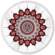 Peacock Feathers Mandala In Black And Red Round Beach Towel