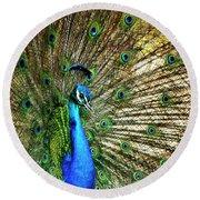 Peacock Full Bloom Round Beach Towel