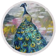 Peacock In Dappled Light Round Beach Towel