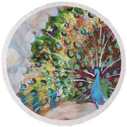 Peacock In Morning Mist Round Beach Towel