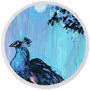 Peacock On A Fence Round Beach Towel