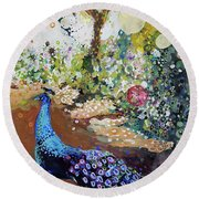 Peacock On Path Round Beach Towel