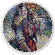Peasant Girl With Fruit And Flowers Round Beach Towel