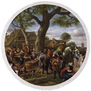 Peasants Merrymaking Outside An Inn, Fair At Warmond Round Beach Towel