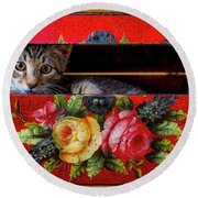 Peeking Out Of A Red Box Round Beach Towel