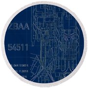 Pek Beijing Capital Airport Blueprint Round Beach Towel