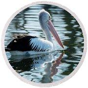 Pelican On The Lake Round Beach Towel