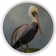 Pelican's Perch Round Beach Towel
