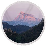 Round Beach Towel featuring the photograph Pena Montanesa Glowing Red by Stephen Taylor