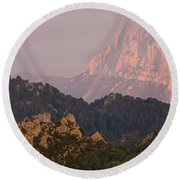 Round Beach Towel featuring the photograph Pena Montanesa Sunset Panorama by Stephen Taylor