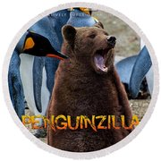 Penguinzilla Round Beach Towel