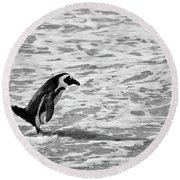 Penguin On A Beach - Bath Time Round Beach Towel