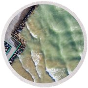 Pentwater Waves Aerial Round Beach Towel
