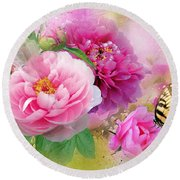 Peonies And Butterfly Round Beach Towel