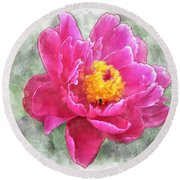 Peony And Bee Round Beach Towel