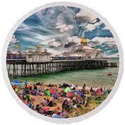 Round Beach Towel featuring the photograph People And The Pier by Leigh Kemp
