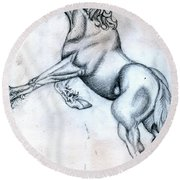 Percheron Horse Sketch After Albrecht Durer Round Beach Towel