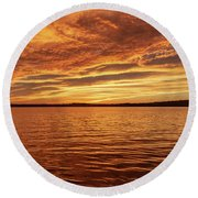 Percy Priest Lake Sunset Round Beach Towel