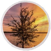 Percy Priest Lake Sunset Young Tree Round Beach Towel