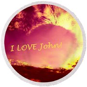 Personalized Heart For John Round Beach Towel