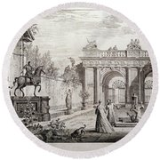 'perspectiva Con Figuras Y Arquitecturas Clasicas', 1740, British School, Etch... Round Beach Towel