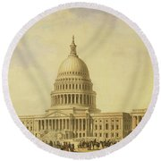 Perspective Rendering Of United States Capitol Round Beach Towel