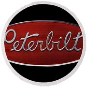 Peterbilt Emblem Black Round Beach Towel