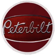 Peterbilt Emblem Red 8 Round Beach Towel