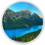 Peyto Lake Red Tip Reflections Round Beach Towel