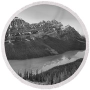 Peyto Lake Red Tip Reflections Black And White Round Beach Towel