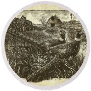 Pheasants Round Beach Towel