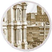 Philadelphia City Hall And Wanamaker Store C 1900 Vintage Photog Round Beach Towel