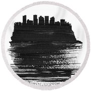 Phoenix Skyline Brush Stroke Black Round Beach Towel