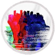 Phoenix Skyline Brush Stroke Watercolor   Round Beach Towel