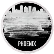 Phoenix Skyline Brush Stroke White Round Beach Towel