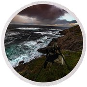 Photo Gear On Landscape Shot Round Beach Towel