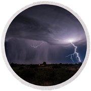 Thunderstorm #3 Round Beach Towel