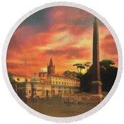 Piazza Del Popolo Rome Round Beach Towel