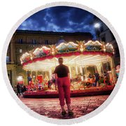 People At Piazza Della Reppublica At Night In Florence, Italy - Painterly Effect Round Beach Towel
