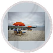 Round Beach Towel featuring the photograph Pier by Jim Mathis