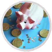 Piggy Bank On The Background With The  Chocoladen Coins Round Beach Towel