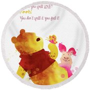 Piglet And Pooh Watercolor 1 Round Beach Towel