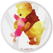 Piglet And Pooh Watercolor 2 Round Beach Towel