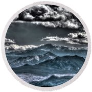Pikes Peak And Clouds Round Beach Towel