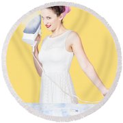 Pin Up Woman Providing Steam Clean Ironing Service Round Beach Towel