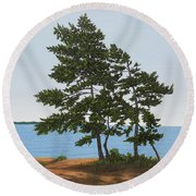 Round Beach Towel featuring the painting Pine On The Point by Kenneth M Kirsch