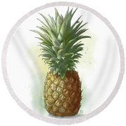 Round Beach Towel featuring the drawing Pineapple by Clint Hansen