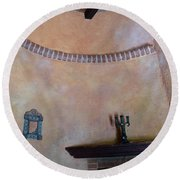 Round Beach Towel featuring the photograph Pink Adobe Wall by Rosanne Licciardi