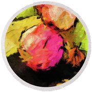 Pink And Green Apples With The Yellow Banana Round Beach Towel