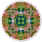 Pink And Green With Wood Patterns Round Beach Towel